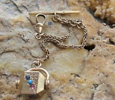 Beautiful Estate Gold Filled Paste Stones Watch Fob Chain with T Bar