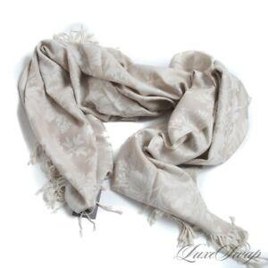 NWT Sferra 100% Merino Wool Kenton Cream Sand Damask Brocade Throw Blanket #7