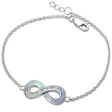 White Fire Opal Infinity  .925 Sterling Silver Bracelet