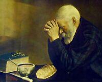 Bearded man saying grace bible Christian art 8 x 10 Art print