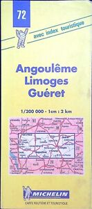 Ancienne carte Michelin collector-200 000é, Angoulême, Limoges, Guéret