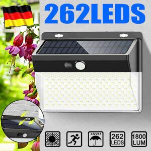 262 LED Solarlampe Solarleuchte mit Bewegungsmelder Sensor Strahler Gartenlampe