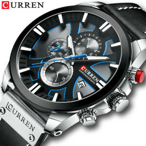 CURREN Men Watch Chronograph Sport Watches Date Display Male Leather Wristwatch