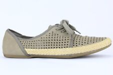 Franco Sarto Women's Gray Leather Whimsy Lace-up Espadrille Flat Size 9.5M