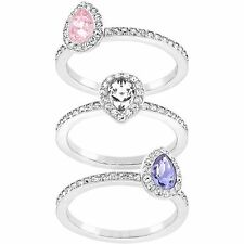 NWT Swarovski 5113887 Christie Crystal Detail Stacking Ring Set of 3 Size 55 7