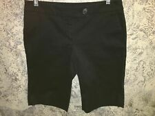 AK ANNE KLEIN black shorts modest length casual dress stretch 6P petite straight