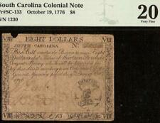 1776 $8 Bill South Carolina Colonial Currency Note Old Paper Money Sc-133 Pmg 20