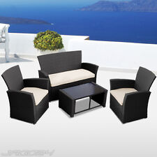 Polyrattan Sofa Set Garden Furniture Coffee Table Chair Seat Couch Guest Black