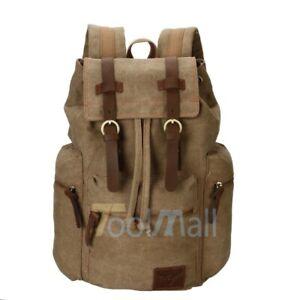 Unisex Vintage Army Canvas Backpack Rucksack School Satchel Travel Hiking Bag US