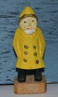 """Vintage Hand Carved Wooden Fisherman Nautical Sailor Folk Old Man Figurine 4"""""""