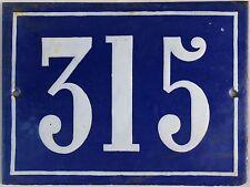 Large old blue French house number 315 door gate plate plaque enamel steel sign