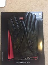 Ladies Black Runway Leather Gloves w/Letters Stamp Size Medium 6/8