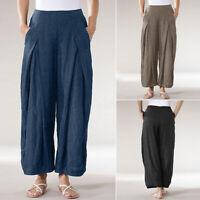 Mode Femme Casual en vrac Taille elastique Poches Pantalon Jambes larges Plus