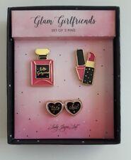 Glam Girlfriends Set of 3 Hat / Lapel Pins Perfume Bottle Lipstick Nail Polish