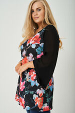 Tunika Gr.48 -50/52- 54/56 Longtunika Damen Shirt Longshirt Blüten schwarz Neu