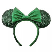 Disney Parks Minnie Mouse Ears Emerald Green Sequined Hat Headband Metallic Bow