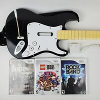 RockBand Wii Harmonix Fender Stratocaster Wireless Guitar w Dongle 3 Games 19091