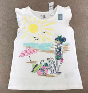 Gap Girls Beach Scene Glitter White T Shirt Top - Age 5 Years (4-5) - BNWT New