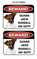 2 Count Beware Guard Jack Russell on Duty (v1) Laminated Dog Sign