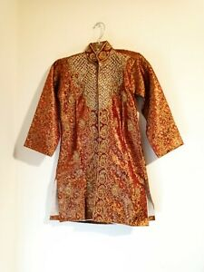 Vintage Youth Kashmiri Coat, Embroidered & Sequined Red / Gold Handmade STUNNING