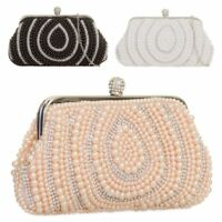 Ladies Pearl Clutch Bag Diamante Clasp Evening Bag Handbag Wedding Purse K6316