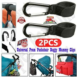 2 x Universal Mummy Buggy Clips Pram Pushchair Stroller Hook Shopping Bag Holder