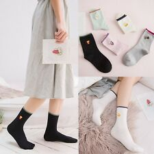 Women Casual Cotton Cute Embroidery Anklet High Socks Candy Colors Socks Hosiery