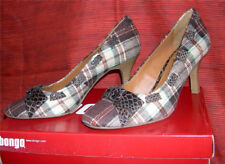 NEW BONGO Niki PQ Women's Brown Plaid High-Heels Pumps Shoes with Bow - Size 6.5
