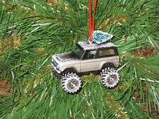 Jada 1973 Ford Bronco Silver tree on top Custom Christmas Ornament w/tree,snow G