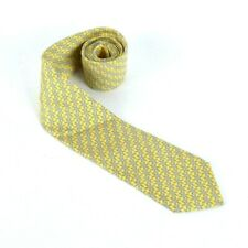 Vintage Hermes Silk Neck Tie Yellow Blue Floral All Over Print