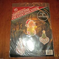 Banar Perferated Paper Counted Cross Stitch Christmas Ornaments NIP
