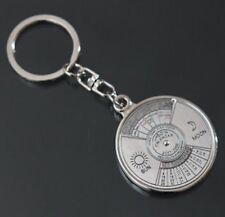 Working Mechanical Compass Calendar Key Ring Stainless Keyring Quality Rings