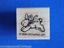 Jumping Bunny Wood Mounted Rubber Stamp Gently Used 1994 Stampin' Up! Stampin Up
