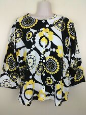 Breckenridge Cotton Black White Yellow Floral Print Cardigan Sweater Size M