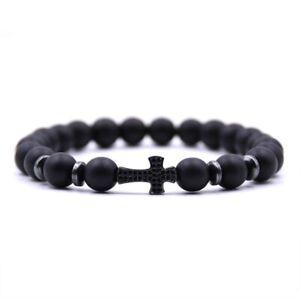Armband Naturstein Perlen Strass Kreuz Jesus Herren Damen Unisex schwarz matt