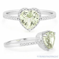 1.28ct Heart-Shape Green Amethyst Diamond Right-Hand Promise Ring 14k White Gold