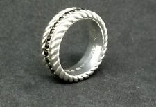 David Yurman Sterling Silver Mens Chevron Black Diamond Ring Size 7.5