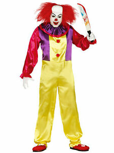 Mens Killer Clown Costume Adult Halloween IT Circus Fancy Dress Outfit Scary