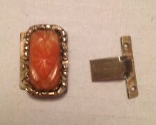 Antique Victorian Pinchbeck & Carved Coral Push In Clasp