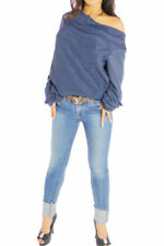 Maglie e camicie da donna blu in seta con scollo a v