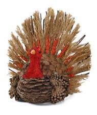 Thanksgiving  Pinecone Turkey with Natural Wheat Barley Tail Feathers Rustic AMO