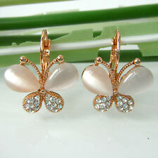 Navachi Butterfly White Wings 18K Gold GP Opal Crystals Hook Earrings BH2543