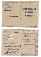 Tessera Unione Sinistrati di Guerra - Napoli, 1945