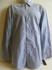 NEW Men's VIA EUROPA White Black Gray Blue Dress Shirt size LARGE stripes