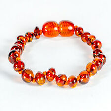 Genuine Baltic Amber Baby Teething Bracelet / Anklet Knotted in Cognac  - 14cm