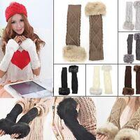 Winter Crochet Braided Knitted Long Hand Wrist Arm Warm Fingerless Gloves Mitten