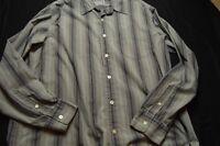 Lucky Brand Large Gray Blue Stripe Long Sleeve Men's Shirt