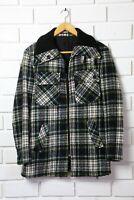 Vintage Hunting Jacket Mens M wool flannel sporting coat Green Plaid work wear