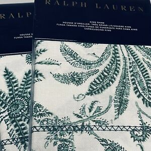 Ralph Lauren PAIR (2) KING SHAMS Charleston Preslie Green Floral Paisley Free 📦