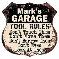 BPG0014 MARK'S GARAGE TOOL RULES Shield Sign Man Cave Decor Funny Gift